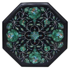 "12"" Marble Coffee Table Semi Precious Stone Home Decor Gifts"