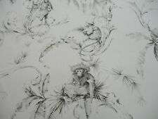 NINA CAMPBELL CURTAIN FABRIC 'BARBARY TOILE' 6 METRES 600cm CHARCOAL 100% Cotton