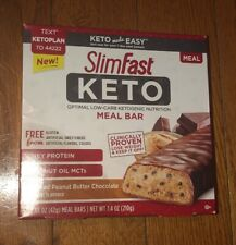 SlimFast Keto Meal Replacement Bar, Whipped Peanut Butter Chocolate, 5 Count NEW