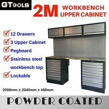 Grey Coated Steel Modular Garage Workbench and Upper Cabinet Set (13 Pieces)