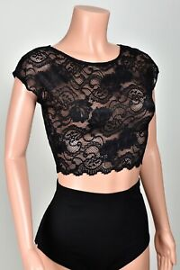 Black Stretch Lace Crop Top XS to 3XL plus size shirt sheer lingerie see through