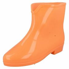 LADIES SPOT ON GLOW IN THE DARK WELLINGTON BOOT IN ORANGE & GREEN STYLE - X1197