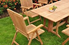 7 PC TEAK RECLINING DINING SET GARDEN OUTDOOR PATIO - MARLEY RECLINE COLLECTION
