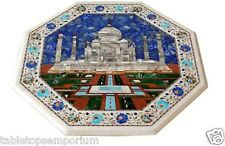 "18"" White Marble Table Top Taj mahal Design Inlay Marquetry Handicraft Decor"