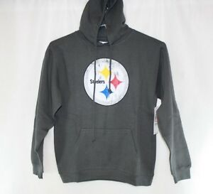 Womens Majestic Pittsburgh Steelers NFL Distressed Logo Gray Pullover Hoodie