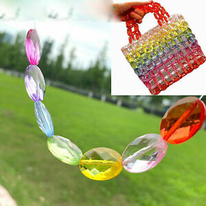 50 Mixed Color Transparent Acrylic Faceted Flat Oval Tube Beads 19X13mm