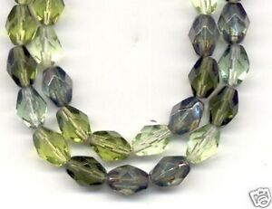 25pcs Czech Mixed Oval Crystal Olive Fire Polished Faceted Glass Beads 7x10mm
