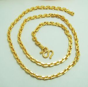5 mm Chain 22K 23K 24K Thai Baht Gold Filled Yellow GP Necklace 25 inch Jewelry