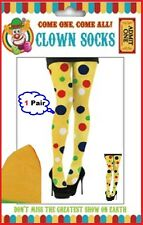 Womens THIGH High SOCKS Polka Dot STOCKINGS Carnival Clown Rave Costume Party
