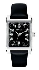 newstuffdaily: NIB WENGER Escort Black Dial Leather Men's Swiss Watch 75125