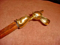 BRASS MOUSE TOPPED RUSTIC RIVED STICK / KY CANE ARTIST JIM HALL