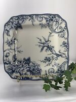 "222 Fifth Adelaide Blue and White 10"" Dinner  Plate Fine China Birds And Flowers"