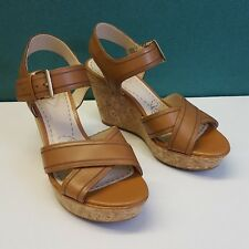 Womens Clarks Scent Sky Tabacco Leather Size 4 UK Wedge Shoes Fit D EUR 37  NEW