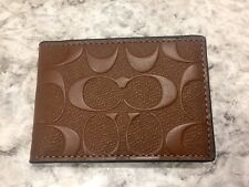 COACH MENS SADDLE EMBOSSED LOGO SIGNATURE LEATHER ID CARD WALLET PASSCASE F25753