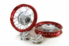 "Red Front & Rear Alum wheels rims 10"" 10 inch CRF50 XR50 Pit Bike Stock Drum"