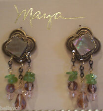 Womens Maya Designer Chandelier Earrings Clip-On Green & Bronze Handmade