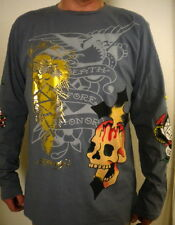 NEW ED Hardy Men's Charcoal Long Sleeve Shirt SKULL CROSS USMC gold foil - XL