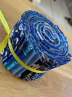 """Fabric Jelly Roll Cotton 100% 2.5"""" x 44"""" Lot of 20 Blue"""