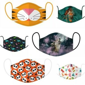 Reusable Fabric Face Mask/ Kids & Adult Sizes/ Multiple Designs/ Wolf/ Tiger