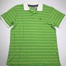 Nike Men's Polo Shirt Green Stripe Vtg Men's Size Large