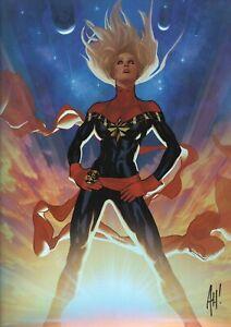 Adam Hughes SIGNED 2019 SDCC Debut Avengers Art Print Holofoil Captain Marvel