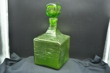 Vintage Large Square Geen Decanter w/Glass Stopper-Ripple Effect Texture