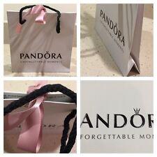 PANDORA GIFT BAG WHITE WITH BLACK ROPE HANDLE & PINK RIBBON 17 x 16 x 6 cm VGC