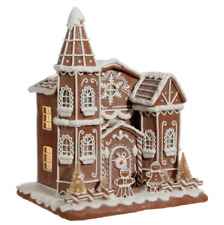 "GINGERBREAD CREAM HOUSE CHURCH 12"" CHRISTMAS DECORATION RAZ  3716221"