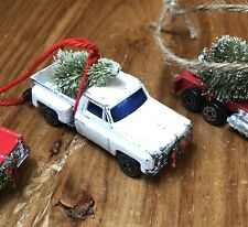 Vintage White Truck With Christmas Tree 1/64 Scale Ornament