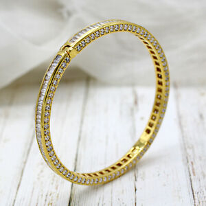 Baguette Moissanite Luxury 14carat Yellow/white Gold Bangle Statement Bracelet