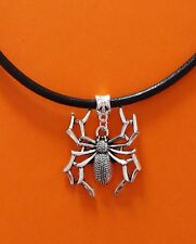 Black Leather Choker Necklace with Large Silver Spider Charm - New - UK Seller