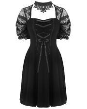 Dark In Love Gothic Mini Dress Black Lace Steampunk VTG Victorian Choker Skater
