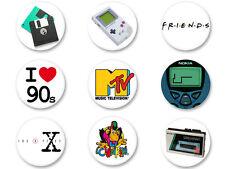 """Lot Pack Badge Button Ø25mm Année 90 Retro Symbole Culte I heart the """"90s"""""""