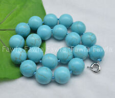 Huge 20mm Natural Blue Turquoise Round Gemstone Beads Jewelry Necklace 18''