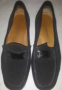 Russell & Bromley Women's Synthetic Suede Loafer Wedge Black Sz 40.5