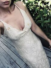 Vintage Beaded Wedding Dress Ball Gown Gatsby 30s Style Size 8