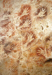 10,000 Yr Old Cave Spiritual Painting Healing Hands Tribal Art Canvas Print A4
