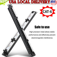 "FAST Cat6A Shielded 24 Port Patch Panel Rack Mountable Network Ethernet 1U 19"""