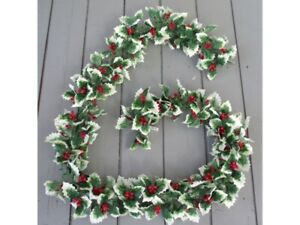 Artificial 180cm Variegated Holly and Berry Garland - Premium Quality