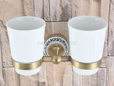 Antique Brass Double Tumbler Holder Toothbrush Cup Holder Wall Mount lba780