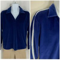 Vintage 70s Sears Kings Road Velour Pullover Collared Stripe Sleeves Hippy XL