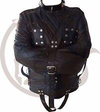 Original Black Leather Strait Jacket Chest Flaps Bespoke