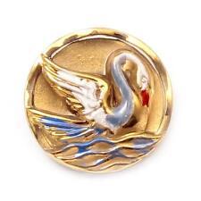 (1) Czech vintage mirrored hand painted gold gilt swan crystal art glass button
