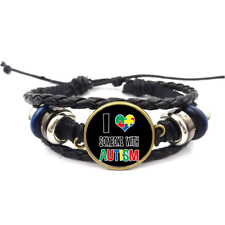 I Love Someone With Autism Glass Cabochon Braided Leather Strap Bracelets