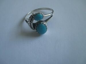 Turquoise Ring 2 stones with Feather..STERLING SILVER..Great Design..NEW