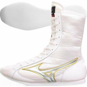 Authentic Mizuno Boxing Shoes Mid White Silver Yellow made in JAPAN BTO F/S JPN
