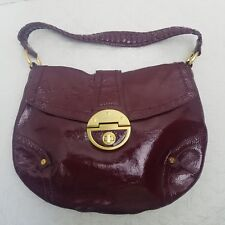 Elliott Lucca Hobo Bag Purse Red Patent Leather Braided Handles Gold hardware