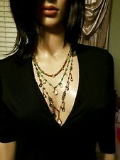 QVC RARE Joan Rivers Green Fairytale Beaded Briolette Adjustable Necklace