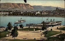 Schiffe 1911 Schweiz Genève Genf Dampfer Steamboat See Le Port Hafen Harbour