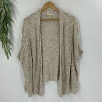 Eileen Fisher Womens Open Cardigan Sweater Size S Beige Pointelle Knit Linen